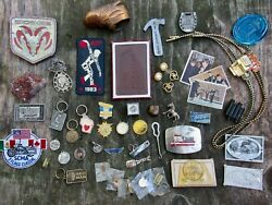 Lot 45+ Diff Junk Drawer Buckle Keychain Dodge Medal Geode Pin Beatles Rare Vg+