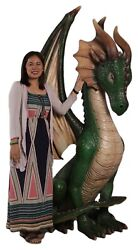 Large Dragon Statue Green - Dragon Statue - Medieval Decor - Mythical Decor