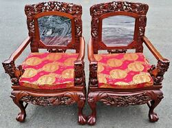 Pair Great Vintage Asian Chinese Foo Dog And Dragon Carved Marble Inset Arm Chairs