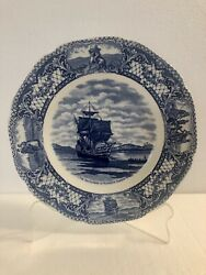 Crown Ducal Colonial Times The Mayflower Blue Dinner Plate Floral And Scenes.