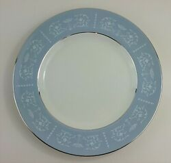 Arklow Belvedere Ireland 10 Plate China Light Blue W Silver And White Accents Vtg