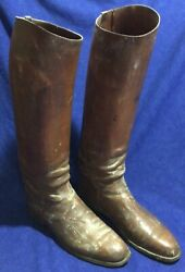 Antique Vintage Wwi Calvary Custom Riding Boots Brown Leather Wood Forms Signed