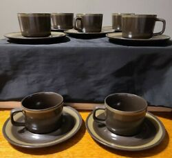 7 Vintage Mikasa Majorca Terrazo Cup And Saucers- Brown And Olive Green