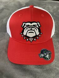 GEORGIA BULLDOGS EMBROIDERED UGA DAWG MASCOT LOGO PATCH HAT RED TRUCKER NEW