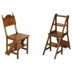Period Victorian 1880 English Oak Library Bookcase Steps Into Metamorphic Chair