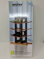 Anchor Home Collection Wine Rack With Espresso Finish, Natural Bamboo