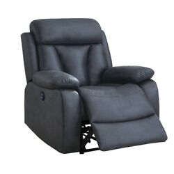 Saltoro Sherpi 41 Inch Leatherette Power Recliner With Tufted Details Blue