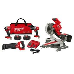 M18 Fuel 18-volt Lithium-ion Brushless Cordless Kit 10 In. Dual Bevel Miter Saw