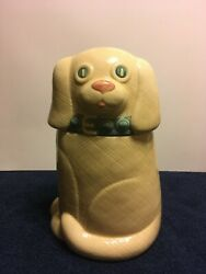 White Dog With Blue Collar Ceramic Stoneware Cookie Jar - 13 Inches