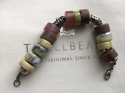Authentic Trollbeads Ancient Bracelet And Plain Lock And 17 Beads Gemstones