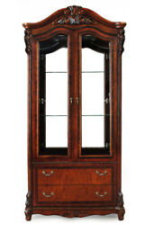 Louis Style Display Cabinet Glass Case Solid Wood Best Quality 77554