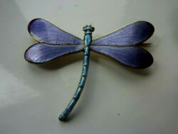 Fab Large Marius Hammer Norway Lilac Blue Dragonfly Brooch 930s Sterling Silver