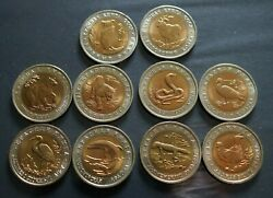 Russian-ussr -coins Set- Russia 5 Roubles + 10 Roubles + 50 Roubles-red Book Unc