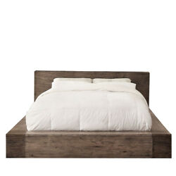 Saltoro Sherpi Transitional Style Wooden Queen Size Bed With Cornered Blocks