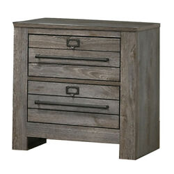 Saltoro Sherpi 2 Drawer Wooden Nightstand With Metal Bar Pulls And Sled Base,