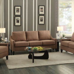 Linen Fabric Upholstered Wooden Three Seater Sofa With Nail Head Details Brown