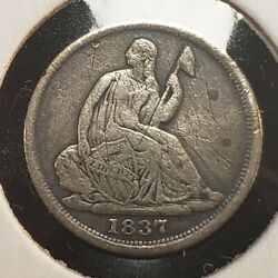 1837 H10c Seated Liberty Silver Half Dime - Value Coin - Vf+ Dets - Sku-t2882