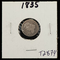 1835 H10c Capped Bust Silver Half Dime - Value Coin - Vg - Sku-t2874
