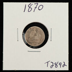 1870 H10c Seated Liberty Silver Half Dime - Value Coin - Sku-t2892