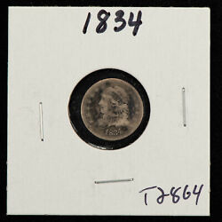 1834 H10c Capped Bust Silver Half Dime - Value Coin - Sku-t2864