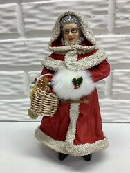 """Possible Dreams 1990 Clothtique 9-1/2"""" Mrs. Claus With Muff And Gingerbread Basket"""