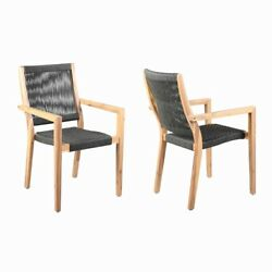Saltoro Sherpi Wooden Outdoor Dining Chair With Fishbone Weave Set Of 2 Black