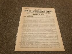 Aabk19 Antiques Advert 11x8 Myers And Co List Of Second Hand Books 4 Pages