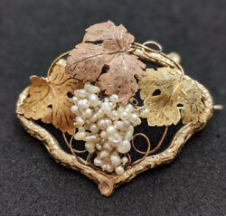 Antique Victorian Natural Pearl 3 Colour 18ct Gold Grape Brooch With Box