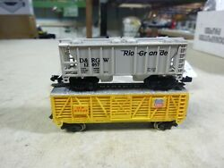 12 N Scale Freight Car / Union Pacific-denver Rio Grande Cars  Lot Of 2