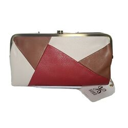 HOBO Lauren double frame Colorblock Leather Wallet Multi Brown Red Ivory new $97.00