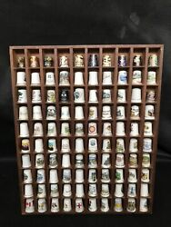 Thimble Display Case With 100 Display Unique Pewter Eagles Lovely Collectibles