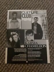 TBEBK161 ADVERT POSTER 11X8quot; CULTURE CLUB : KARMA CHAMELEON SONG WORDS