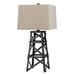 Saltoro Sherpi Metal Body Table Lamp With Tower Design And Fabric Shade, Gray
