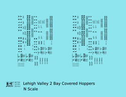K4 N Decals Lehigh Valley Two Bay Covered Hopper Black