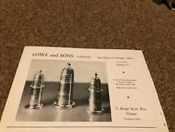 Ant9 Antique Advert 5x8 Lowe And Sons Chester Queen Anne Casters Charles Adam