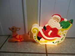 Vintage Santa's Sleigh And Reindeer Lighted Christmas Blow Mold Decor By Venture