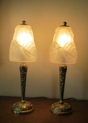 Pair Of Beautiful French Art Deco Table Lamps 1925 - Signed Degue