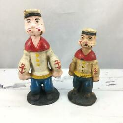 Vtg Antique Cast Iron Paperweight Coin Bank Figurine Statue - Popeye Set Of 2