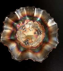 Fenton Marygold And039vintageand039 Ruffled Bowl Wide Exc Grapes