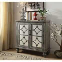 Saltoro Sherpi Wooden Console Table With 2 Doors And Mirror Fronts, Weathered