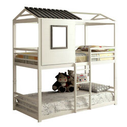 Saltoro Sherpi Twin Over Twin Stackable Metal Bunk Bed With Ladder, White And