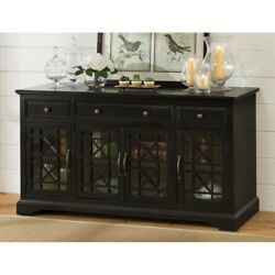Craftsman Series 60 Inch Wooden Media Unit With 3 Drawers, Antique Black