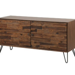 Saltoro Sherpi 2 Doors Wooden Media Console With Hairpin Legs, Brown And Black