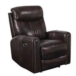 Saltoro Sherpi Faux Leather Upholstered Wooden Recliner With Switch Panel, Brown