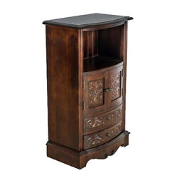 Saltoro Sherpi Engraved Wooden Frame Storage Cabinet With 2 Drawers And 2 Doors,