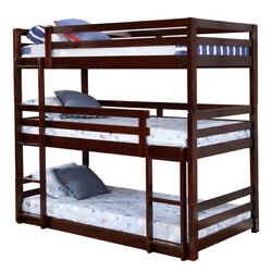 Saltoro Sherpi 3 Tier Design Wooden Twin Size Bunk Bed With Attached Guardrails