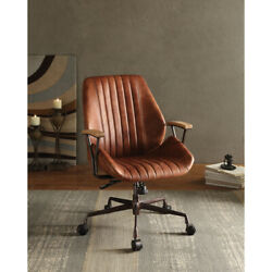 Saltoro Sherpi Metal And Leather Executive Office Chair Cocoa Brown