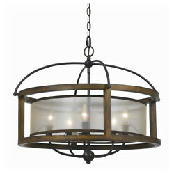 Saltoro Sherpi 5 Bulb Round Chandelier With Wooden Frame And Organza Striped