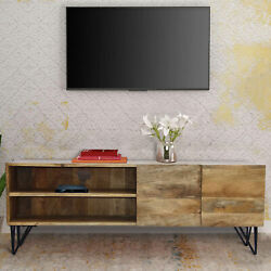 Industrial Style Mango Wood And Metal Tv Stand With Storage Cabinet, Brown