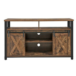 Saltoro Sherpi 53 Inches Wooden Tv Stand With 2 Barn Sliding Doors, Rustic Brown